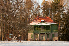 Grönt hus Hummelshain Arkivbild
