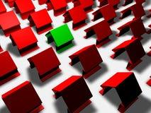 Grönt hus med förbrukning för låg energi stock illustrationer