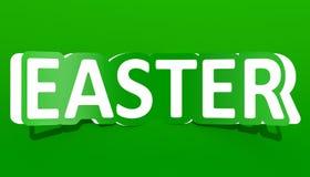 Grönt inskriftsnitt för påsk från papper, tolkning 3D vektor illustrationer