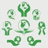 Grönt jordklot Logo Vector Illustration Arkivfoton