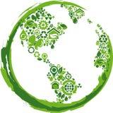 Grönt jordklot med många miljösymboler Arkivbilder