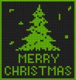 Grönt julkort med trädet Arkivfoto