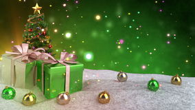 Grönt jultema med gåva-, snö- och bokehbakgrund Sömlös ögla 3d framför lager videofilmer