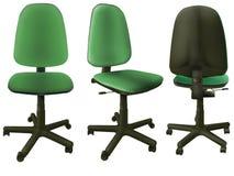 grönt kontor för 3 stol Fotografering för Bildbyråer