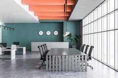Grönt kontor med mottagande och mötesrum royaltyfri illustrationer