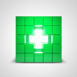 Grönt korshälsosymbol Arkivfoton