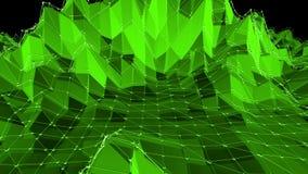 Grönt lågt poly vinka för bakgrund Abstrakt låg poly yttersida som CG-bakgrund i stilfull låg poly design polygonal lager videofilmer