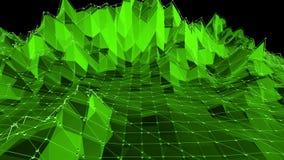 Grönt lågt poly vinka för bakgrund Abstrakt låg poly yttersida som dröm- bakgrund i stilfull låg poly design polygonal stock video