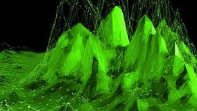 Grönt lågt poly vinka för bakgrund Abstrakt låg poly yttersida som futuristiskt landskap i stilfull låg poly design royaltyfri illustrationer
