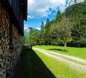 Grönt landskap med trähuset och den sandiga vägen Fotografering för Bildbyråer