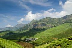 Grönt landskap och blåa himlar arkivfoto