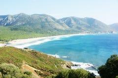 Grönt landskap och hav Arkivbild