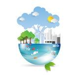 Grönt liv med ecobegrepp stock illustrationer