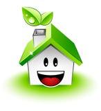 grönt lyckligt hus Fotografering för Bildbyråer
