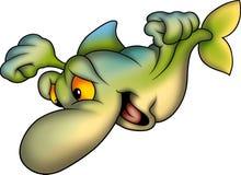 grönt lyckligt le för fisk vektor illustrationer