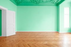 Grönt målat rum, lägenhetrenovering med färgrika väggar arkivfoto