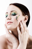 grönt makeupkvinnabarn Royaltyfria Bilder