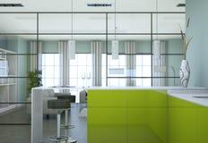 Grönt modernt kök i en vind med en härlig design Arkivbild
