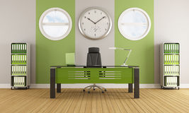 Grönt modernt kontor royaltyfri illustrationer