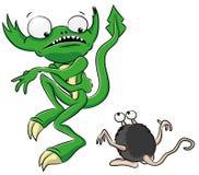 Grönt monster för tecknad film. Royaltyfri Foto