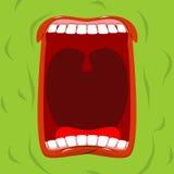 Grönt monster med hans öppna mun Läskiga spökerop förfärligt royaltyfri illustrationer