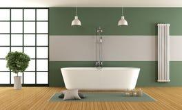 Grönt och grått badrum för samtida royaltyfri illustrationer