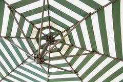 Grönt och vitt paraply fotografering för bildbyråer
