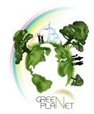 grönt planet för ekologi Arkivbild