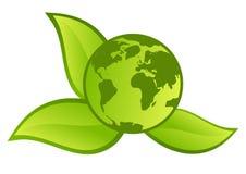 grönt planettecken för knapp Royaltyfria Foton
