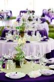 grönt purpurt gifta sig för tabeller Fotografering för Bildbyråer