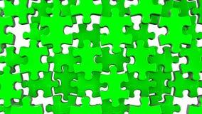 Grönt pussel på vit bakgrund stock illustrationer