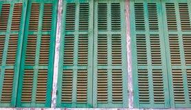 Grönt retro fönster Gammal arkitektonisk beståndsdel Fotografering för Bildbyråer