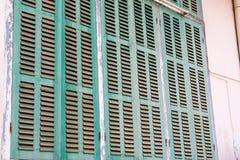 Grönt retro fönster Gammal arkitektonisk beståndsdel Royaltyfri Bild