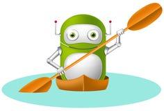 Grönt robottecken stock illustrationer