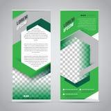 Grönt rulla upp mallen för banerställningsdesignen royaltyfri illustrationer