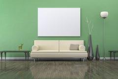 Grönt rum med en soffa Arkivfoto