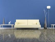 Grönt rum med en soffa stock illustrationer