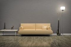 Grönt rum med en soffa Arkivfoton