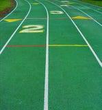 grönt running spår Fotografering för Bildbyråer
