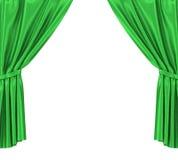 Grönt silke hänger upp gardiner med strumpebandet som isoleras på vit bakgrund hög upplösning för illustration 3d Arkivfoton