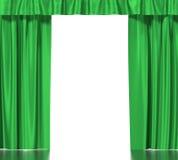 Grönt silke hänger upp gardiner med strumpebandet som isoleras på vit bakgrund hög upplösning för illustration 3d Fotografering för Bildbyråer