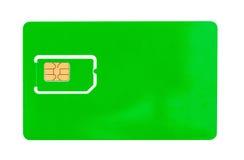 Grönt SIM-kort för en mobiltelefon med ett tomt utrymme Royaltyfri Bild