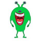 Grönt skrämma tecknad filmmonster Royaltyfri Bild