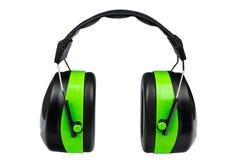 grönt skyddande för öronskydd Arkivbild