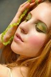 grönt smink för öga Arkivbilder