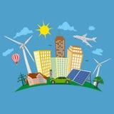 Grönt stadsbegrepp, förnybara energikällor, vektorillustration Royaltyfri Fotografi