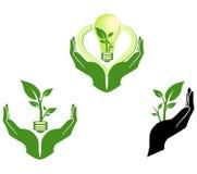 grönt symbol för eco Arkivfoton