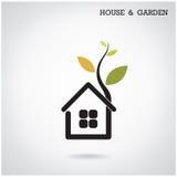 Grönt symbol för för för energihembegrepp, hus och trädgård Vektorillus Arkivfoto