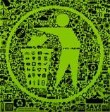 grönt symbolavfall stock illustrationer