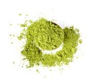 Grönt te för pulver arkivfoton